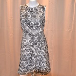 Tory Burch Fit & Flare Navy with White Dress